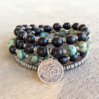 Ebony and African Turquoise 54 Bead Mala Necklace Or Wrap Bracelet with Om Charm