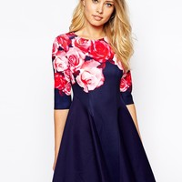 Ginger Fizz Bold Bouquet Dress In Scuba With Rose Placement Print