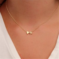 Tiny Dainty Heart Personalized Letter Necklaces
