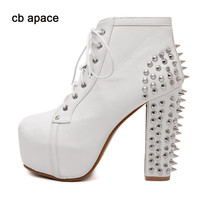 Plus Size 41 Fashion Women's Boots Ultra High Heels Shoes Woman Punk Boots Spikes Ankle Boots Rivet Bota Platform Lace Up Shoes