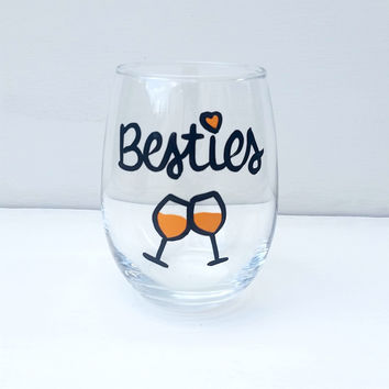 Besties Best Friends hand-painted stemless wine glass