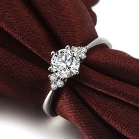 Round Shape Brilliant Moissanite Engagement Ring with Diamonds 14k White Gold or 14k Yellow Gold Diamond Ring