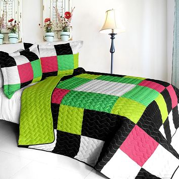 [Jolly Island] 3PC Vermicelli - Quilted Patchwork Quilt Set (Full/Queen Size)