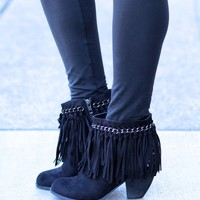Hippy Chic Suede Fringe Booties (Black)
