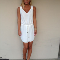 White Drawstring Tank Dress
