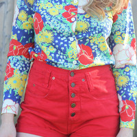 Cherry red high waisted shorts   Portland to Portland Thrift