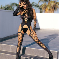 Black Strappy Lingerie with Gloves and Stockings