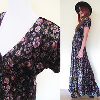 Vintage 90's black velvet grunge punk goth club kid floral flower sunflower festival v neck flare maxi dress