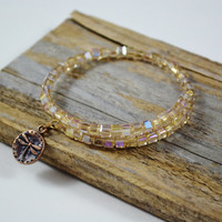Crystal memory wrap bracelet Rose crystal wrap bracelet dragonfly jewelry square crystal bracelet Neutral wrap bracelet no clasp bracelet