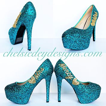 Teal Glitter Wedding High Heels, Turquoise Aqua Gold Platform Pumps
