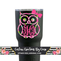 Owl with (or without) Bow Monogram Decal, Owl Lilly Decal, Bow Monogram, yeti Monogram decal , Laptop Decal, Car Decal,
