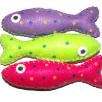 Cat Toy  - Felt Catnip Sardines - Set Of 3