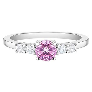925 Sterling Silver Size 2-5 Shiny Pink & Clear Round Cubic Zirconia Ring Bands for Young Girls