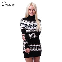 CWLSP Snowflake Twisted Christmas Sweater Autumn Winter Women Warm Striped Turtleneck Sweater