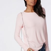 Missguided - Simi Long Sleeve Ribbed Jersey Top Baby Pink