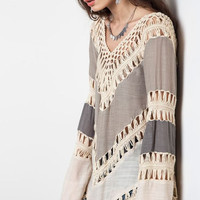 Stepping It Up- Open Crochet Colorblock Top Blouse-Umgee-Taupe