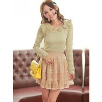 Green Cotton Knitted Floral Neck Puff Shoulder  Long Sleeves One Size Cute Fashion Top @MF8603gr