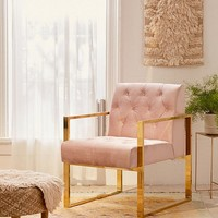 Mindi Velvet Tufted Arm Chair   Urban Outfitters