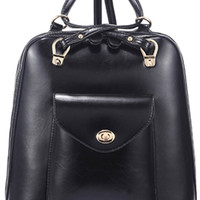 Double-Strap Leather Backpack