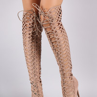 Qupid Over The Knee Cut Out High Heel Boots