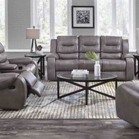 Corinthian Jamestown Smoke Reclining Sofa and Loveseat
