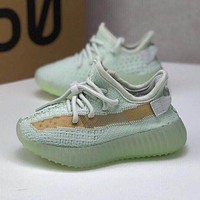 adidas Yeezy Boost 350 V2 Hyperspace Toddler Kid Running Shoes Child Low Top Sneakers