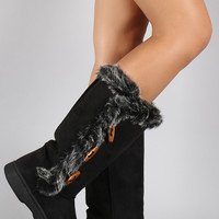 Bamboo Faux Fur Three Button Toggle Boots