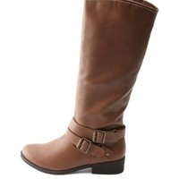 Double Belted Knee-High Riding Boots by Charlotte Russe