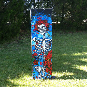 Grateful Dead Art, Unique Pop Art Painting 20x70, Reclaimed Wood Art, Jerry Garcia Art, Rock Art, Large Wall Art, Skull and Roses Art