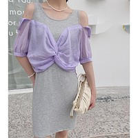 2020 new stitching strapless stitching fake two-piece split shirt dress