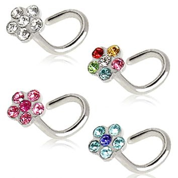 316L Surgical Steel Screw Nose Ring with Multi Gem Flower Top