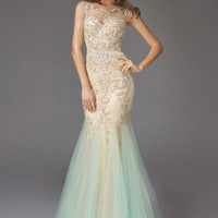 G2038 Lace Applique Sheer Illusion Mermaid Prom Dress Pageant Evening Gown
