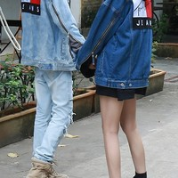 """""""Tommy"""" Unisex Casual Fashion Letter Embroidery Personality Printing Hooded Spell Color Long Sleeve Tops Coat"""