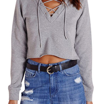 Grey Lace-up Front Crop Top