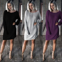Women Solid Color Round Neck Long Sleeve Dress