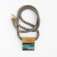 Light brown-taupe Mokuba rope, wooden bead and green jasper
