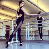 Brand new Sexy Bodycon Fitness Sport Jumpsuit Playsuit For Slim Mesh splicing Femme Black Rompers Womens Gift 1 pcs