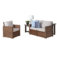Home Styles Furniture 5516-642C Barnside Aged Barnside Love Seat, Chair and End Table with Accent Pillows
