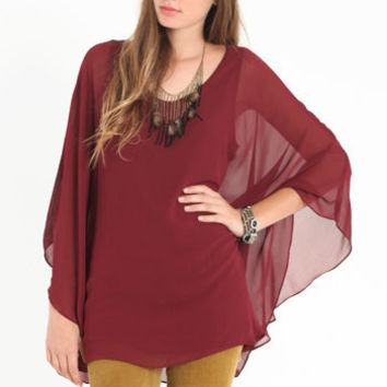 Serena Burgundy Dolman Top - $44.00 : ThreadSence.com, Your Spot For Indie Clothing & Indie Urban Culture