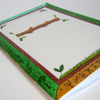 Notebook with hand-drawn cover and 60 white blank pages, art nature sketchbook with viking runes 'Earth', Item number: 0409