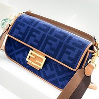 Fendi Fashion New More Letter Canvas Shoulder Bag Handbag Crossbody Bag Blue