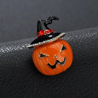 Yal Brooches Punk Pins Metal And Brooches Pumpkin Rhinestone Brooch Pins For Women  Vintage Brooches For Men