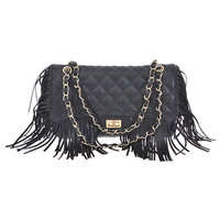 Quilted Fringe Shoulder Bag
