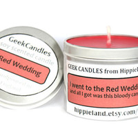 I went to the Red Wedding and all I got is this Bloody Candle Scented Soy Tin Candle 8oz. Game of Thrones. Soy Candles. Candles, Geek Gift.