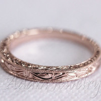 Antique Design 14k White Gold/ Rose Gold/ Yellow Gold Band Wedding Ring/ Band/ Promise Ring/  Engagement Ring
