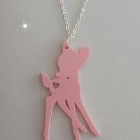 Large Pink Laser Cut Cute Bambi Deer Necklace