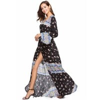 Boho Chic Hippie Beach Dress V-Neck Flare Sleeve Maxi Dress Women Dresses Print Long Robe Femme Vestido