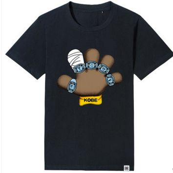 """Fashion Casual Simple Male Female Large Size Five Fingers Pattern """"KOBE"""" Letter Print Round Neck Short Sleeve Cotton T-shirt"""