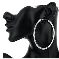 Bling It On Oversize Crystal Hoop Earrings