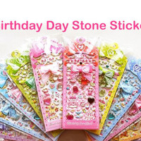 Birthstone Birthday jewel seal sticker Kawaii birthday bear sticker Constellation stones diy handmade brithday card colorful dkorean cartoon